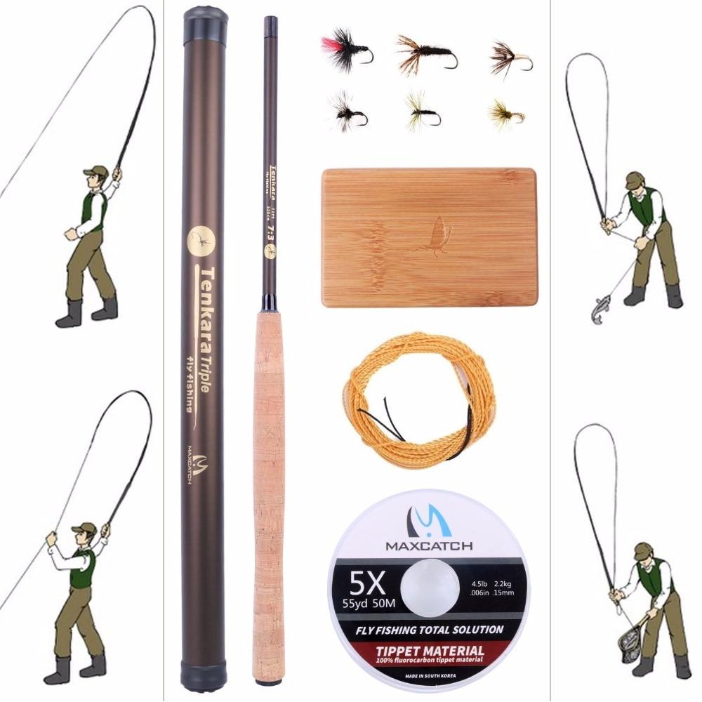 ФОТО Maximumcatch 11FT Tenkara Rod Combo Carbon Fly Rod Fishing Pole & Line & Tenkara Fly & Box