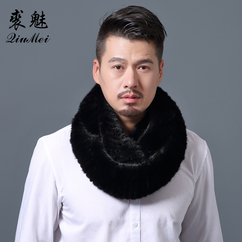 140cm Luxury Men Natural Mink Fur Scarves Solid Knitted Real Fur Collar Warmer Russian Wrap Male