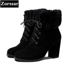 {Zorssar} fashion Suede womens Snow boots Genuine Leather High heels ankle Martin boots winter warm women shoes bottine femme