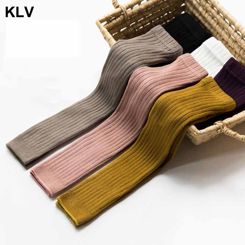 Kid Knitted Leggings Baby Girl Cotton Vertical Winter Pants Solid Color Trouser