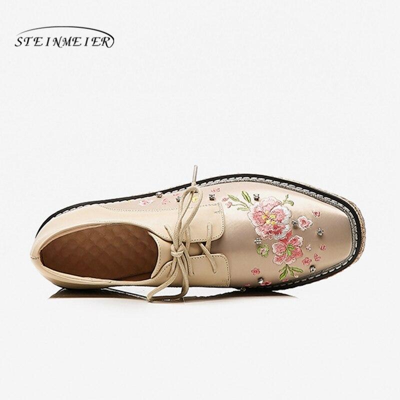 Appartements forme Beige Derbies Broderie Chaussures black Pour Véritable Dames Femme Femmes En Cuir De Vintage Oxford Casual Plate fqaxC78w5