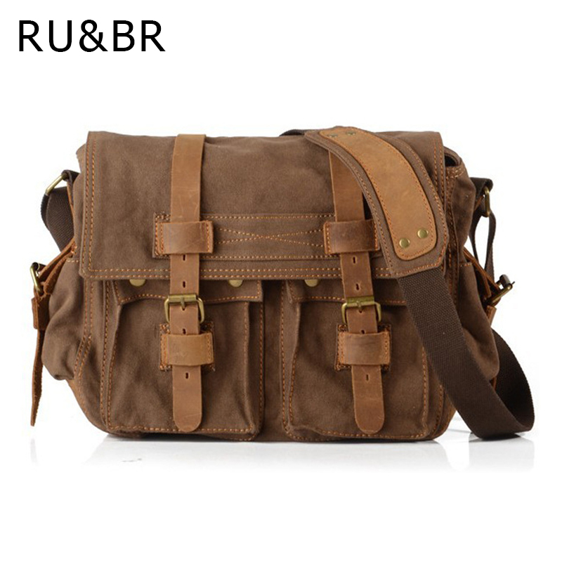 RU BR Canvas Bags With Crazy Horse Genuine Leather Men S Shoulder Bag Vintage Business Messenger