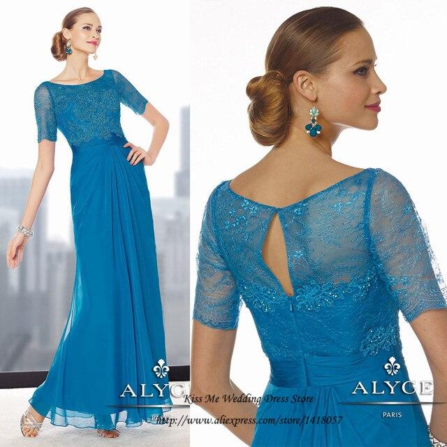 41e68737e Azul Elegante Más Tamaño Madre de los Vestidos de Novia para Bodas Madrina de  Manga Corta