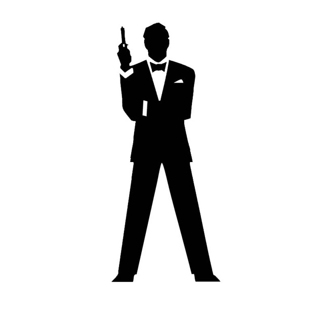 Handsome spy agents holding a pistol standing grim expression car sticker for suv bumper motorcycles laptop
