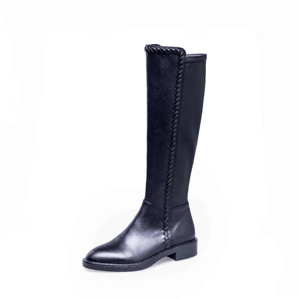 Krazing Pot hakiki deri streç uzun çizmeler med topuk dikiş gladyatör kadın sıcak tutmak tiki tarzı over-the- diz çizmeler L16