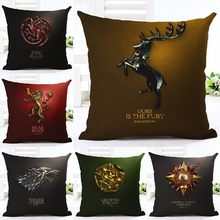 HOT sale Cotton Linen Square Game of Thrones home sofa Decorative Throw Pillows 3D Cushion Covers kussens woondecoratie cojines(China)