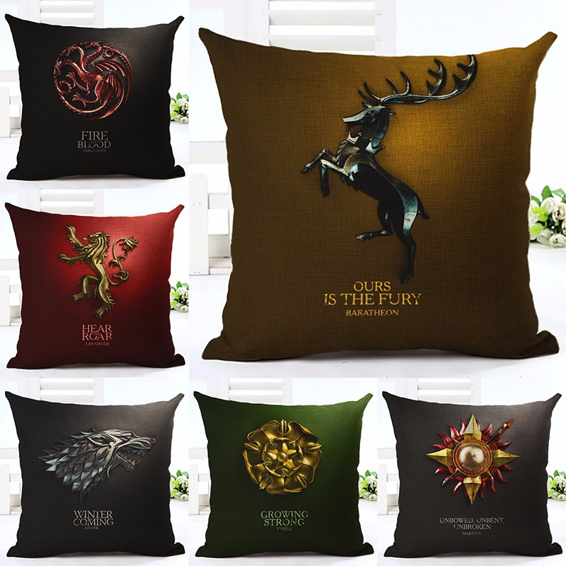 Cotton Linen Square Decorative Throw Pillow Case Vintage Cushion Cover Euphoria Home Decorative Cushion Cover Game of Thrones