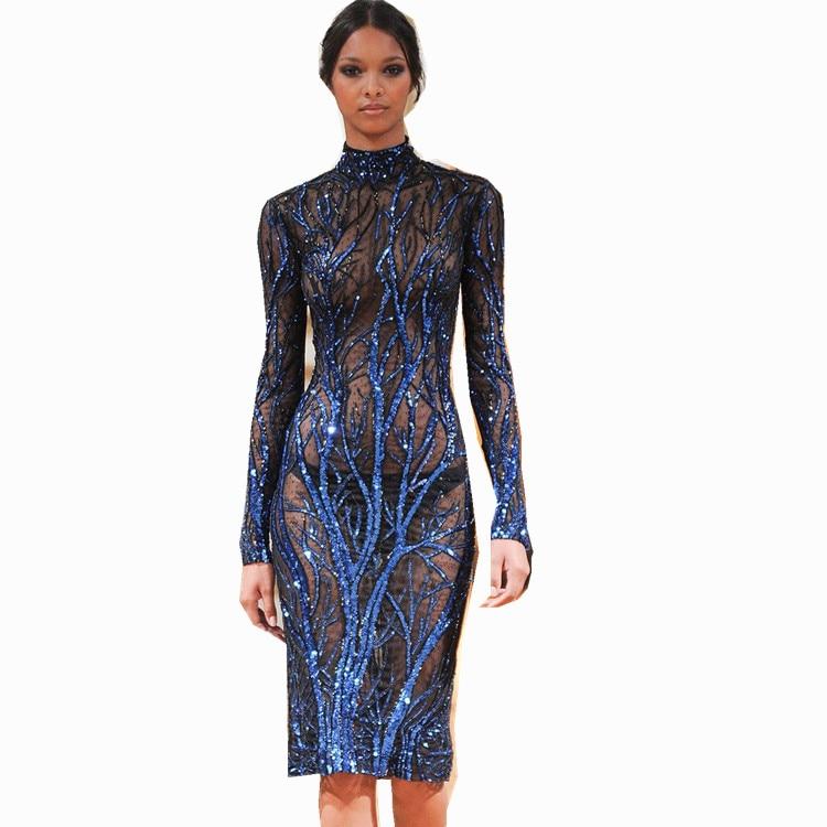 MUXU Long blue sequin dress sexy transparent dress party plus size ...