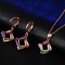 CARSINEL Rose Gold color Wedding & Engagement Jewelry Fashion Colorful Zircon Necklace&Earrings for Women Copper Jewelry sets
