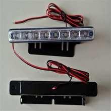 Brand New 2Pcs 8 LED DRL Daylight Head Lamp Super White 12V DC Car font b