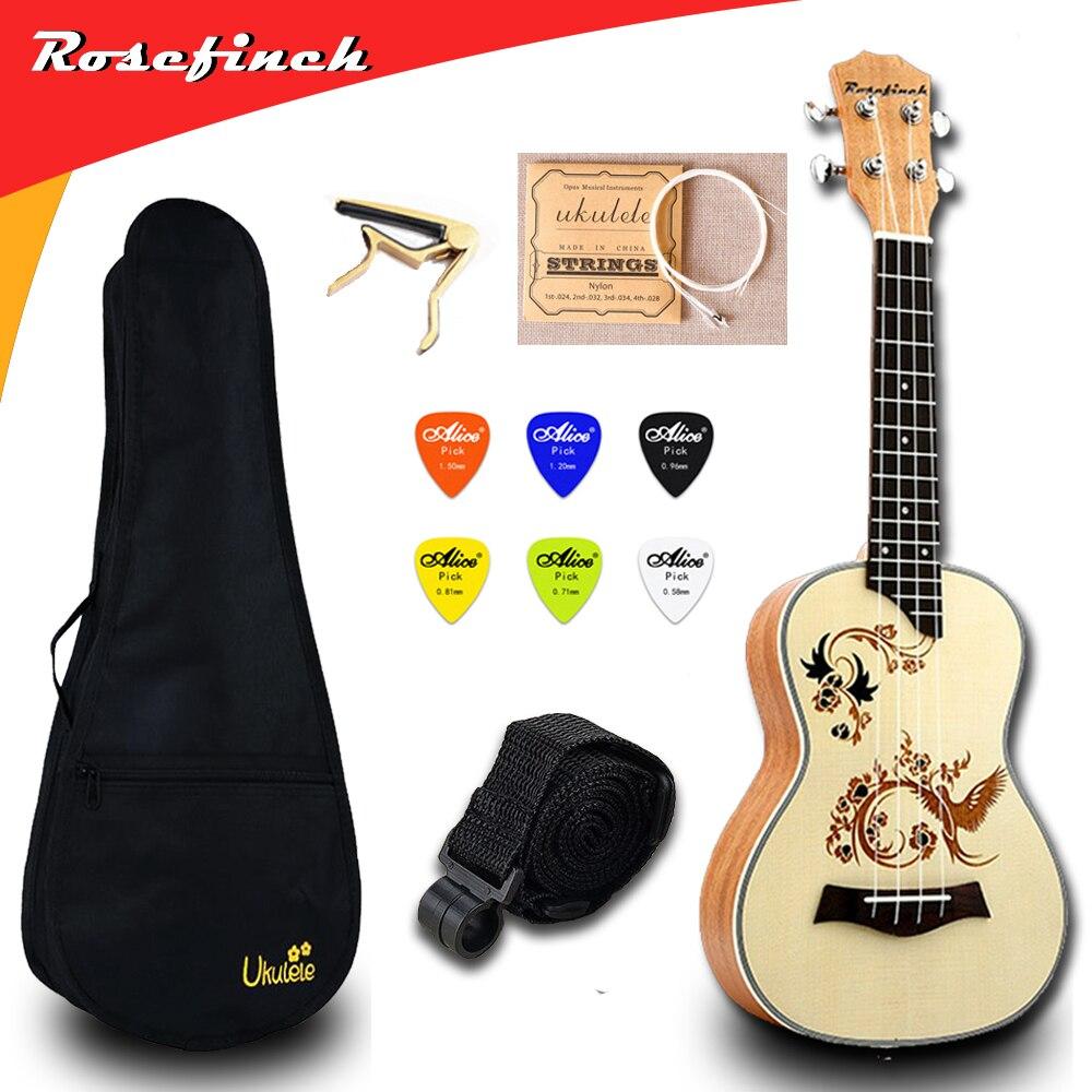 23 pouces ukulélé Concert électrique Mini guitare Ukelele avec sac Capo 4 cordes sangle pics Hawaii guitare UKU cadeau acajou UK2319A