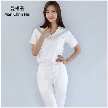 Summer new short-sleeved surgical clothing  beauty oralpet doctor uniform solid color Spa uniforms Medical clothing for women
