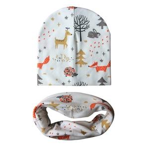 Outono inverno bebê menino menina dos desenhos animados padrão algodão chapéu e cachecol conjunto impressão crianças bonés