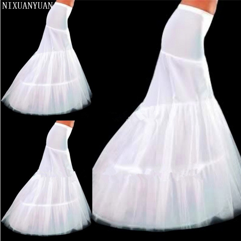 2020 New Hot Sale In Stock Petticoat 2 Hoops White Mermaid Wedding Dress Crinoline Slip Cheap And Good Quality Accessories