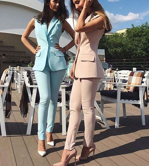 Bespoke Custom Made Spring Summer Women Slim Fit Pants Suit Sleeveless Jacket for Business Office Ladies