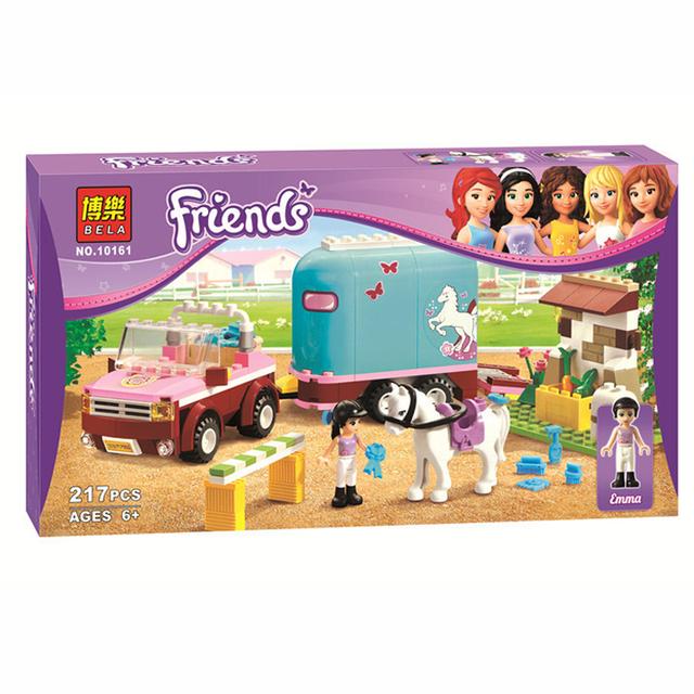 Diy bloques educativos bela amigos olivia compatible juguete remolque de caballos de andrea emma para niñas lepin