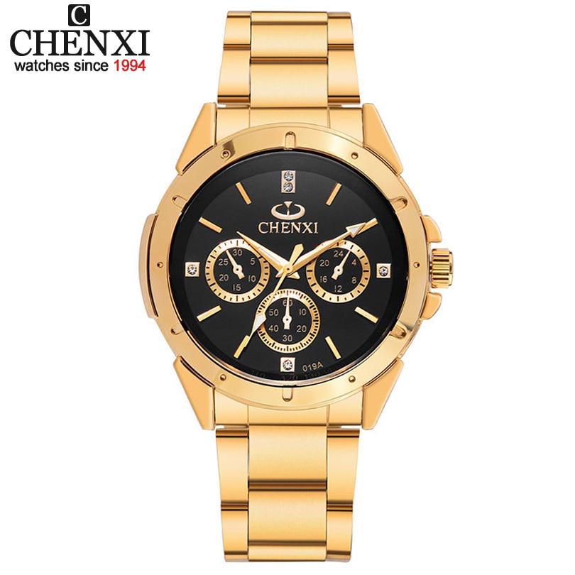 CHENXI Dos Amantes de Quartzo Relógios Homens de Ouro Relógios de Pulso Das Mulheres Top Marca de Luxo Relógio Feminino Masculino Relógio De Aço De Ouro IPG