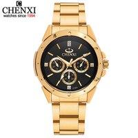 CHENXI Lovers Quartz Watches Women Men Gold WristWatches Top Brand Luxury Female Male Clock IPG Golden
