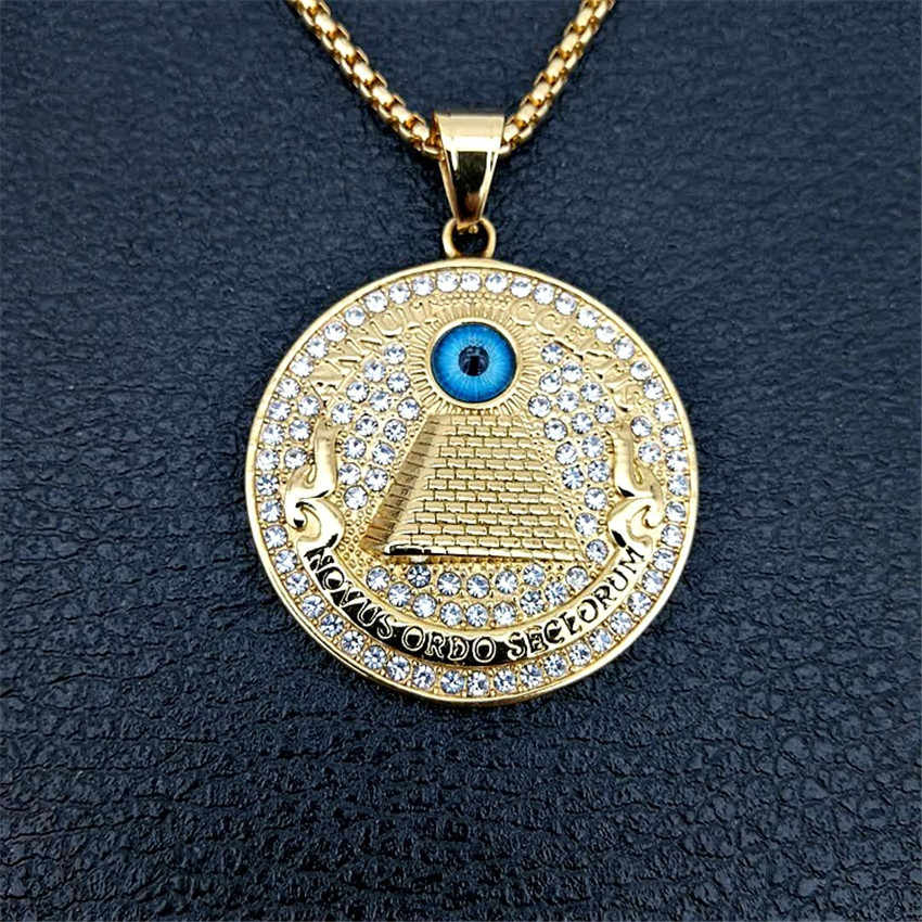 Golden Egyptian Pyramid Necklaces Pendants For Men Iced Out Rhinestone Eye of Providence Chains Jewelry Gifts