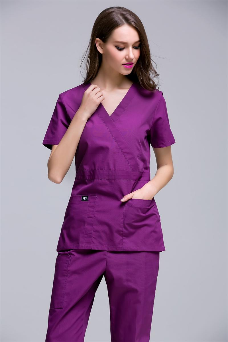 2020 New Arrival Women's Hospital Surgical Or Medical Uniform Scrub Clothes Sets Short Sleeve With Adjusted Best At Waist Side