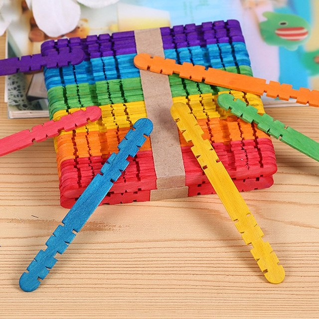 50pcs Colorful Wooden Ice Cream Stick Popsicle DIY Handmade Make Crafts Kids Gift Toys