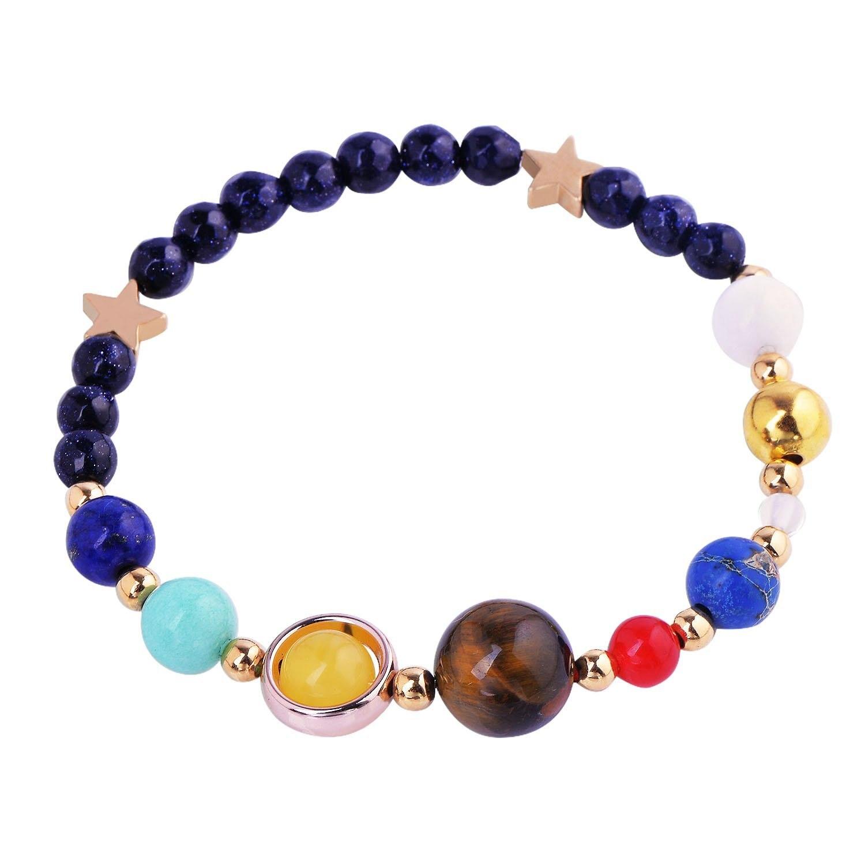 Man Cool Handmade Universe Galaxy Eight Planets Solar System Guardian Stars Stones Beads Women Elastic Bracelets Bangles