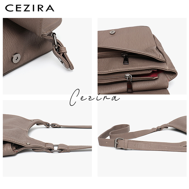 CEZIRA Fashion Shoulder Bags for Women Small Vegan Wash Leather Flap Bag Girl Flap Cover Buckle Casual Messenger Bag Lady Bags 3