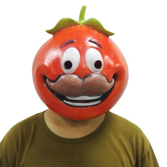 Fortnight Tomato Head Dress Up Mask Cosplay Battle Royale Tomato Temple  Masks Adult Latex Halloween Party Props