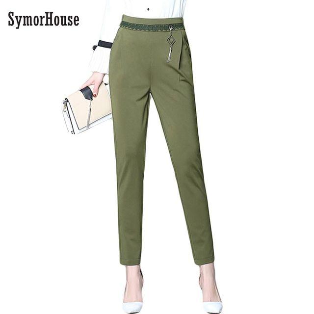 5e4fd1509a5af 2019 new women s fashion pants lace stitching high waist casual ankle-length  pencil pants female plus size 6XL loose harem pants