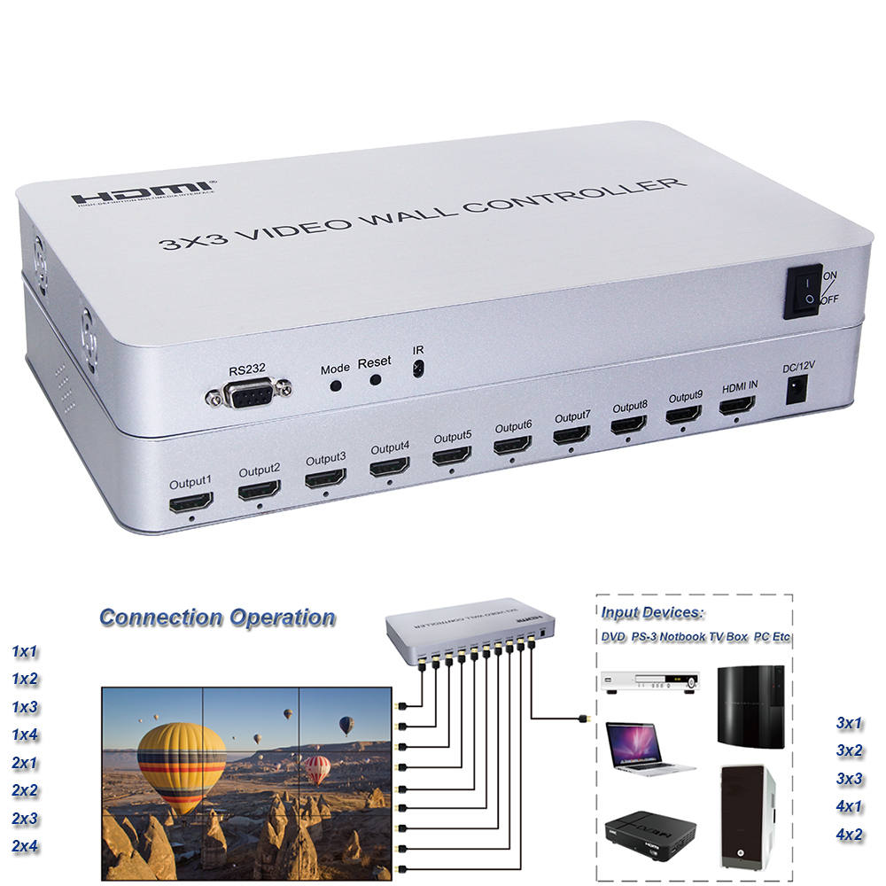 New 3x3 Video Wall Controller HDMI Video Processor Support 1 input 9 Outputs 1080P with RS232