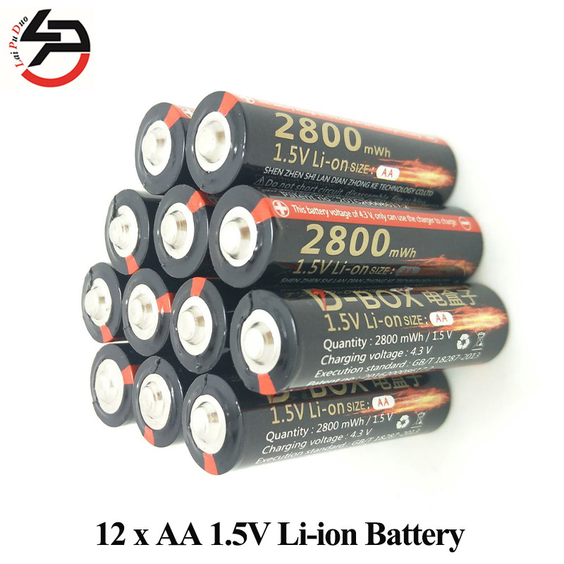 1.5V 2800mWh AA Lithium-ion Battery Rechargeable Batteries polymer lithium li-ion batteria for Remote Toy 12 Pieces Included