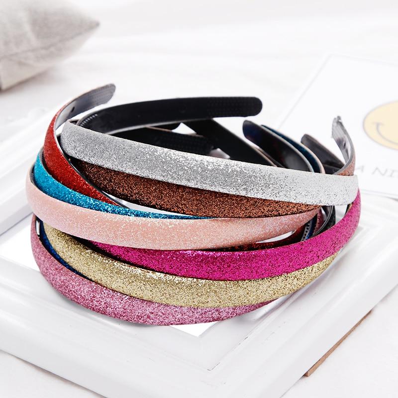1PC New Women Girls Cute Glitter Scrub Candy Colors Hairbands Headband Hair Holder Headwear Hair Bands Fashion Hair Accessories