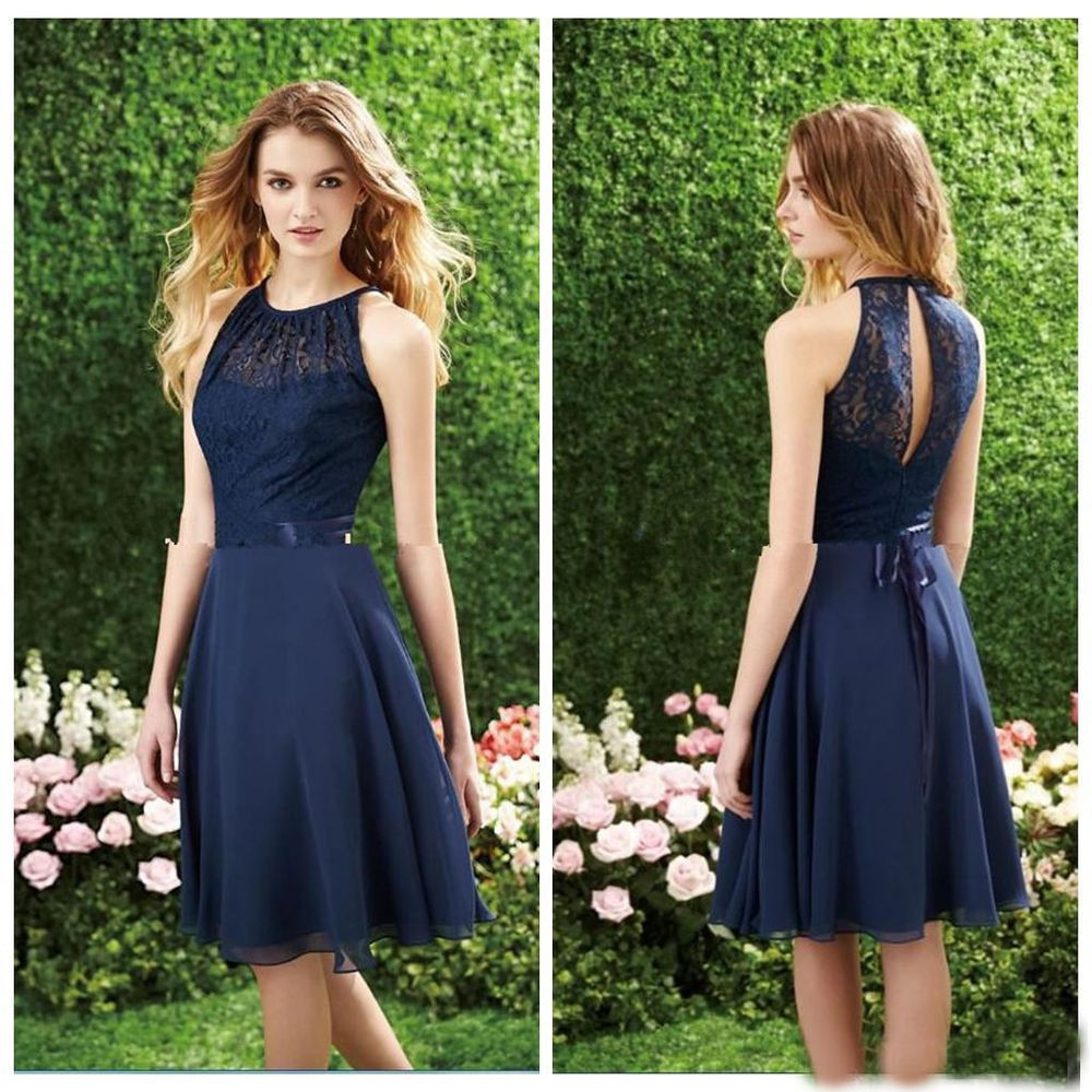 Short Navy Blue Bridesmaid Dress Halter High Neck Cut Out Lace Top