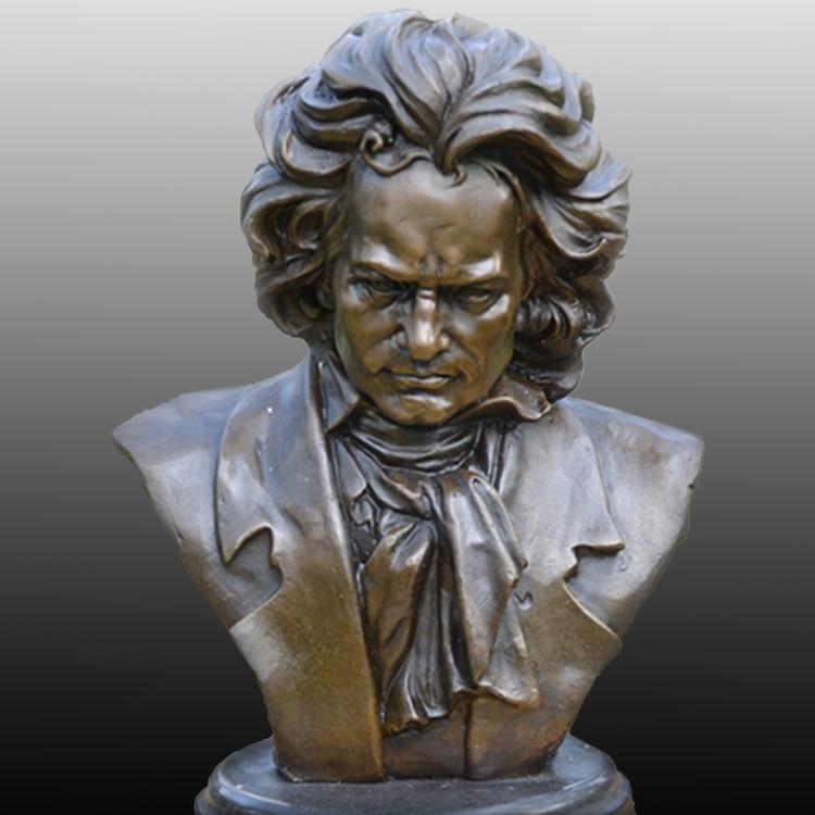 Beethoven melltartó sárgaréz szobor, mint a zeneszerző zongorista - Lakberendezés