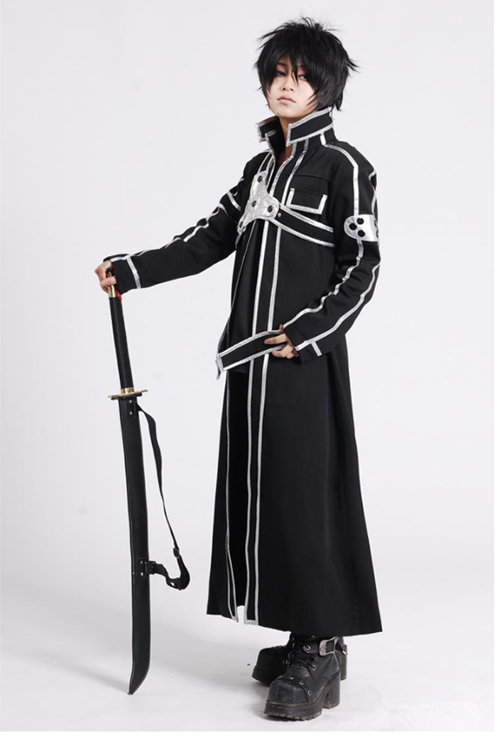 Image 3 - Sword Art Online SAO Kirito Kirigaya Kazuto Robe Cosplay Costumes Long Overcoat Trench Coat ( Cloak + Belt + Shoulder straps )-in Anime Costumes from Novelty & Special Use
