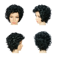 Short Curly Black Wig Synthetic Hair Heat Resistant Natural Black African Afro Wigs For Black Women