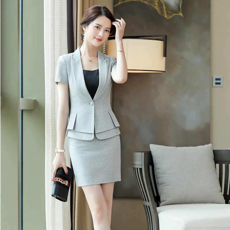 Formal Uniform Styles Elegant Grey 2 Piece Set With Tops And Skirt For Ladies Office Work Wear 2019 Summer Blazers Outfits