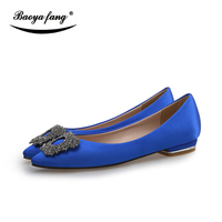 New arrival Spring and Autumn womens Fashion Flat black/blue/pink pointed Toe party shoes ladies office shoes Bride wedding shoe