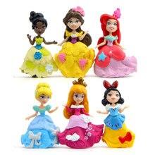 6 unids/set Princesa Sofía blanco nieve elsa Bella PVC modelo de figuras de acción juguetes princesas figura juguetes para niños de regalo de Navidad