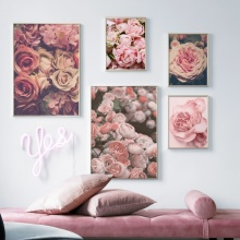 Pink Rose Peony Flower Landscape Wall Art Canvas Painting Nordic Posters And Prints Decoration Pictures For Living Room Decor