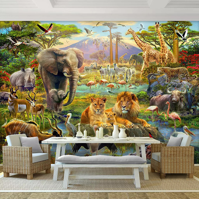 Custom 3D Photo Wallpaper Murals Cartoon Forest Animal World Children Kids Bedroom Living Room Elephant Lion Mural Wallpaper 3D