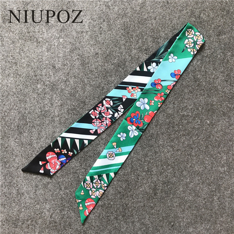 Women Fashion Striped Flowers Bag Handbag Small Twill Emulation Silk Scarf Ribbon Women Tie Headband Neck Hair Luxury M307