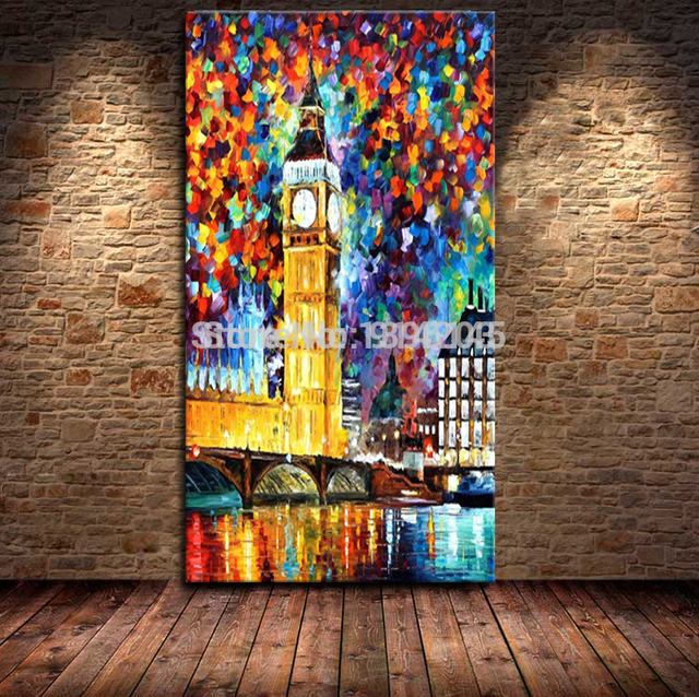 Atfart Living Room Hall Wall Art Handmade Landscape Oil: Large Oil Paintings Canvas Handmade Landscape Big Ben In
