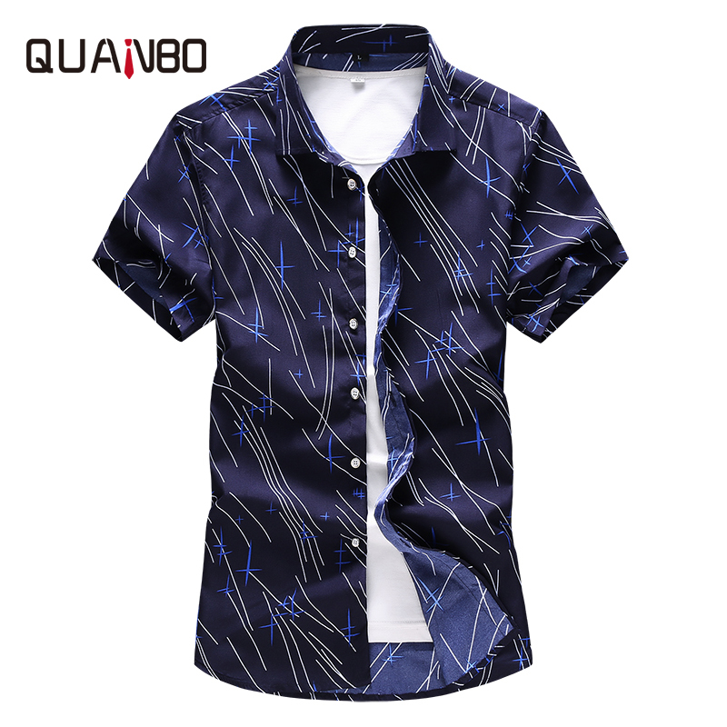 QUANBO Fashion Print Short Sleeve Shirt 2019 New Arrival Summer Thin Casual White Shirts Plus Size 5XL 6XL 7XL  Brand Clothing