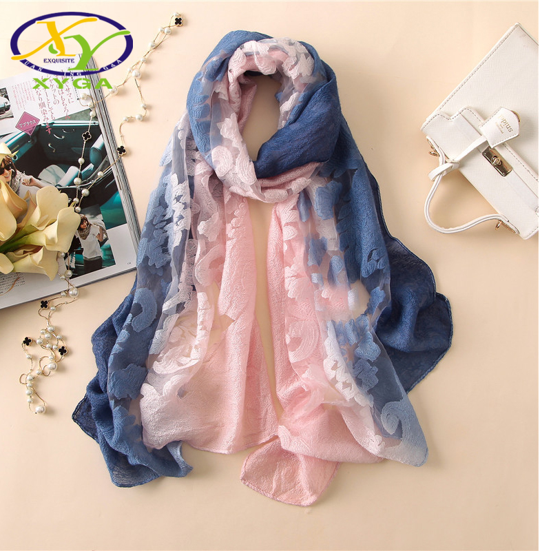 1PC 2018 New Lace Gradient Women Scarf Printed Thin Summer Spring Female Lady Pashmina Shawls Wrap Soft Lace Long Scarves ...