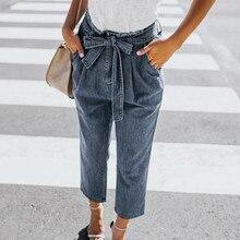 ed31dd21d6 Boyfriend Jeans para mujeres alta cintura suelta arco venda Denim agujero pantalones  Jeans Stretch Jean mujeres Jeans Mujer Vaqu.