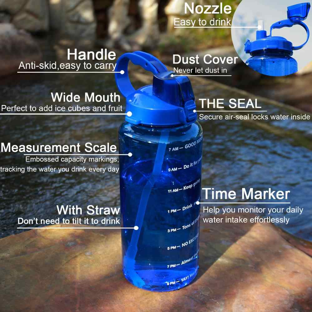 QuiFit 2L 3.8L Gallonen Tritan Sport Wasser flasche mit Stroh Große Protein Shaker Trinken Flaschen Kürbis Tasse krug BPA FREI outdoor GYM