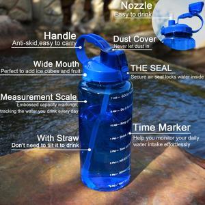 Image 4 - QuiFit 2L 3.8L แกลลอนขวดน้ำกีฬา Tritan Straw Big โปรตีน Shaker เครื่องดื่มขวด Gourd ถ้วยเหยือก BPA ฟรีกลางแจ้ง