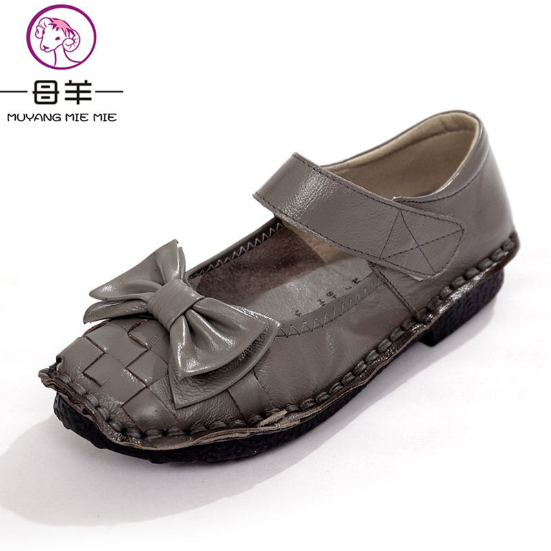 MUYANG MIE MIE Spring Casual Women Shoes Woman Genuine Leather Flat Shoes Comfortable Mary Janes Shoes Women Flats отпариватель для одежды mie stiro 1300