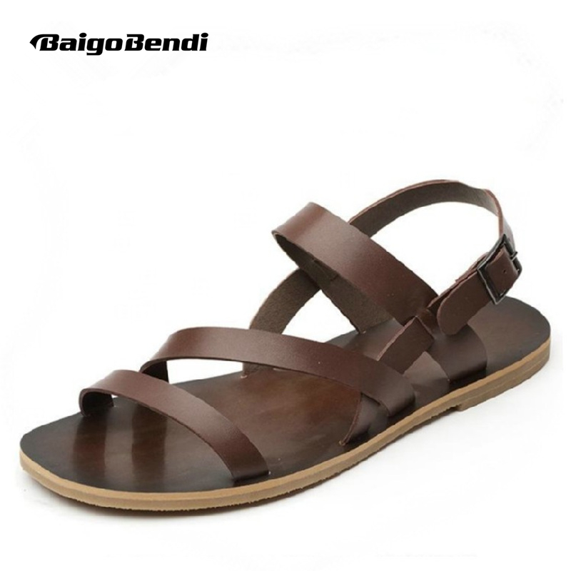 REAL Leather Mens Cross Tied Sandals Summer Beach casual Buckle Strap slipper shoes